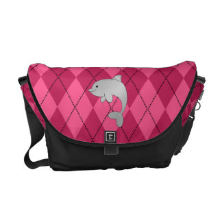 Personalized name dolphin pink argyle courier bags