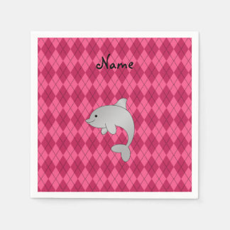 Personalized name dolphin pink argyle standard cocktail napkin