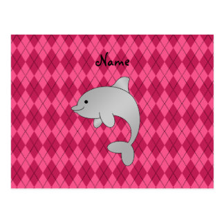 Personalized name dolphin pink argyle postcard