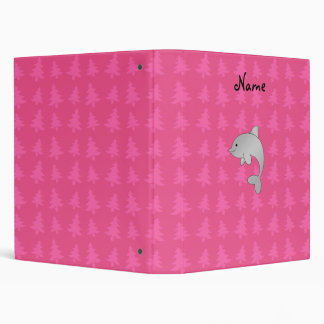 Personalized name dolphin pink christmas trees binder