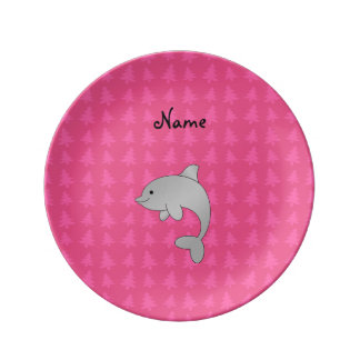 Personalized name dolphin pink christmas trees porcelain plate