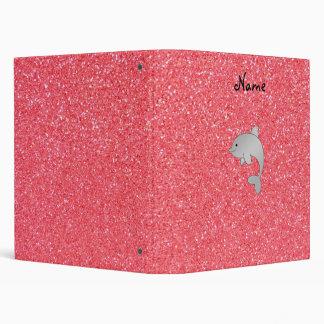Personalized name dolphin pink glitter vinyl binders