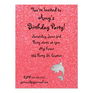 "Personalized name dolphin pink glitter 6.5"" x 8.75"" invitation card"