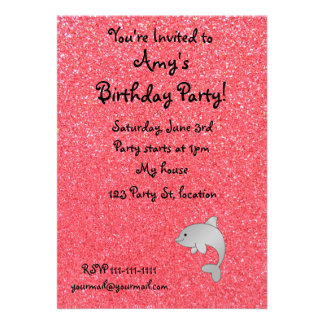 Personalized name dolphin pink glitter custom announcements