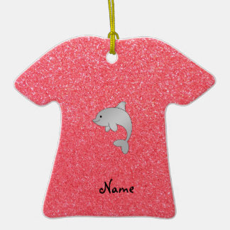 Personalized name dolphin pink glitter christmas tree ornaments