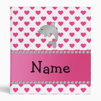 Personalized name dolphin pink hearts polka dots binder