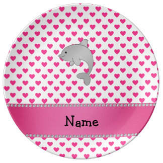 Personalized name dolphin pink hearts polka dots porcelain plates