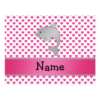 Personalized name dolphin pink hearts polka dots postcard