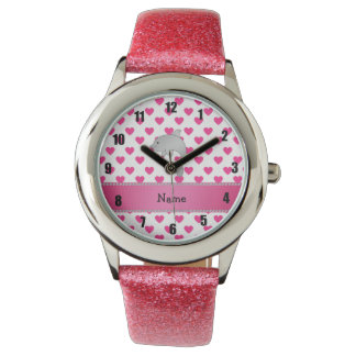 Personalized name dolphin pink hearts polka dots wrist watches