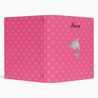 Personalized name dolphin pink polka dots 3 ring binder