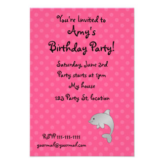 Personalized name dolphin pink polka dots personalized announcement