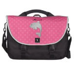 Personalized name dolphin pink polka dots computer bag