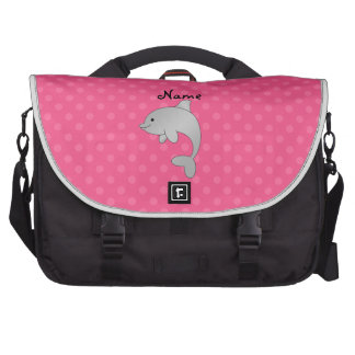 Personalized name dolphin pink polka dots laptop commuter bag