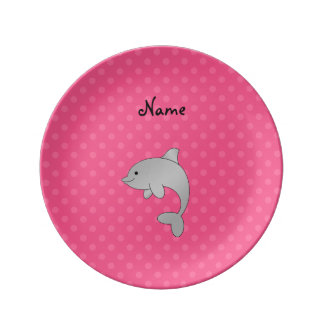 Personalized name dolphin pink polka dots porcelain plates