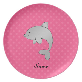 Personalized name dolphin pink polka dots plates