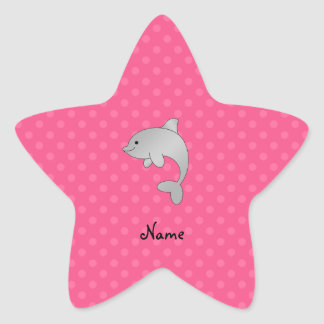 Personalized name dolphin pink polka dots star sticker