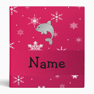 Personalized name dolphin pink snowflakes binder