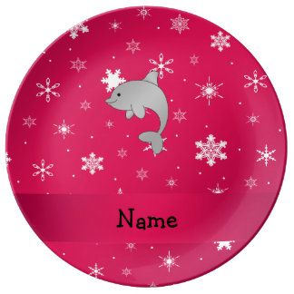 Personalized name dolphin pink snowflakes porcelain plates
