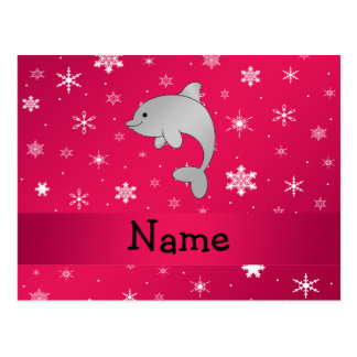 Personalized name dolphin pink snowflakes postcard