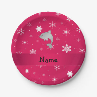 Personalized name dolphin pink snowflakes 7 inch paper plate