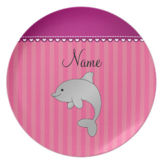 Personalized name dolphin pink stripes party plates