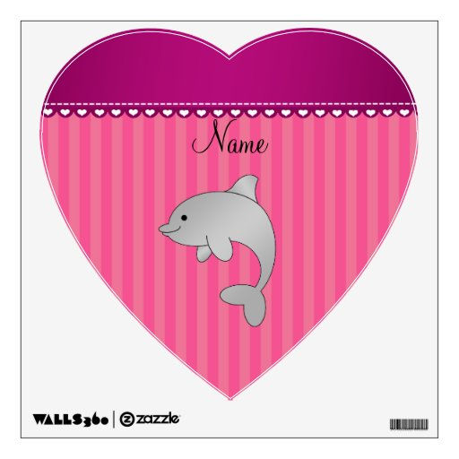 Personalized name dolphin pink stripes wall stickers