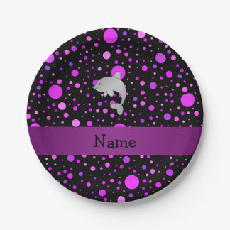 Personalized name dolphin purple polka dots 7 inch paper plate