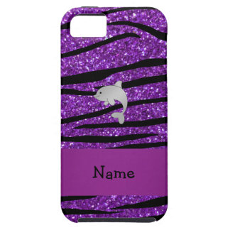 Personalized name dolphin purple zebra stripes iPhone SE/5/5s case