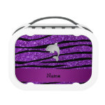 Personalized name dolphin purple zebra stripes lunchboxes