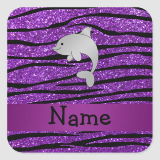 Personalized name dolphin purple zebra stripes square sticker