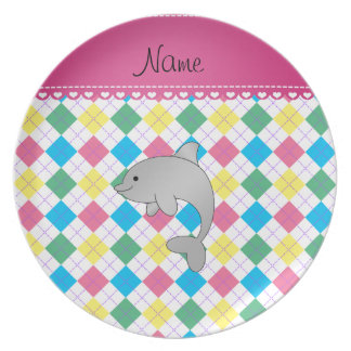 Personalized name dolphin rainbow argyle dinner plate