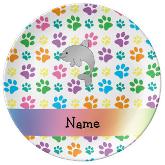Personalized name dolphin rainbow paws porcelain plate