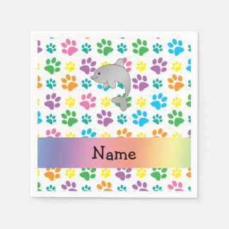 Personalized name dolphin rainbow paws standard cocktail napkin