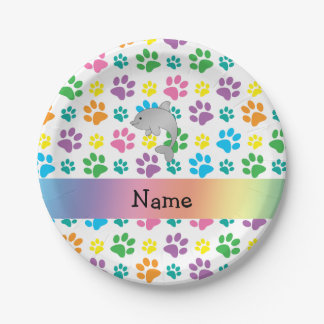Personalized name dolphin rainbow paws 7 inch paper plate