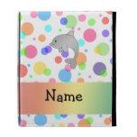 Personalized name dolphin rainbow polka dots iPad folio covers