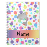 Personalized name dolphin rainbow polka dots note books