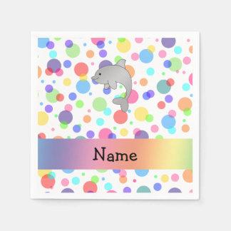 Personalized name dolphin rainbow polka dots standard cocktail napkin