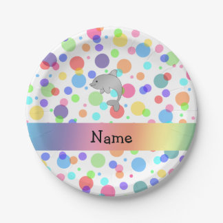 Personalized name dolphin rainbow polka dots 7 inch paper plate