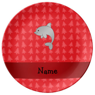 Personalized name dolphin red christmas trees porcelain plate
