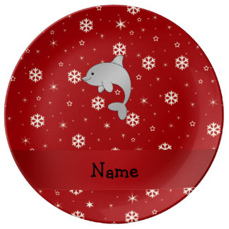 Personalized name dolphin red snowflakes porcelain plates
