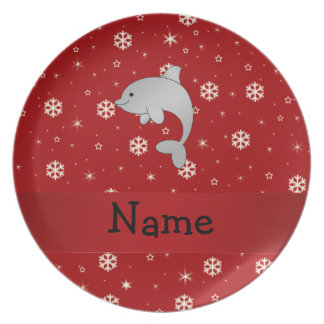 Personalized name dolphin red snowflakes party plates