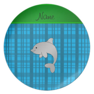 Personalized name dolphin sky blue plaid plate