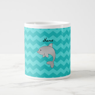 Personalized name dolphin turquoise chevrons giant coffee mug