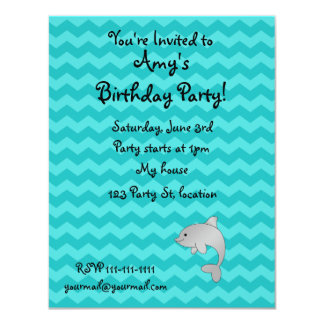 Personalized name dolphin turquoise chevrons 4.25x5.5 paper invitation card