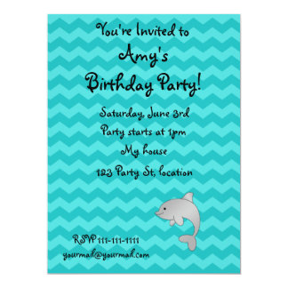 "Personalized name dolphin turquoise chevrons 6.5"" x 8.75"" invitation card"