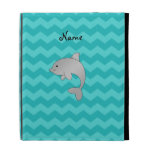 Personalized name dolphin turquoise chevrons iPad folio covers