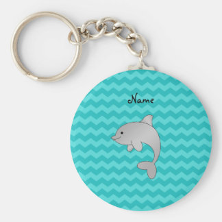 Personalized name dolphin turquoise chevrons key chains