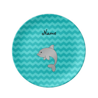 Personalized name dolphin turquoise chevrons porcelain plate