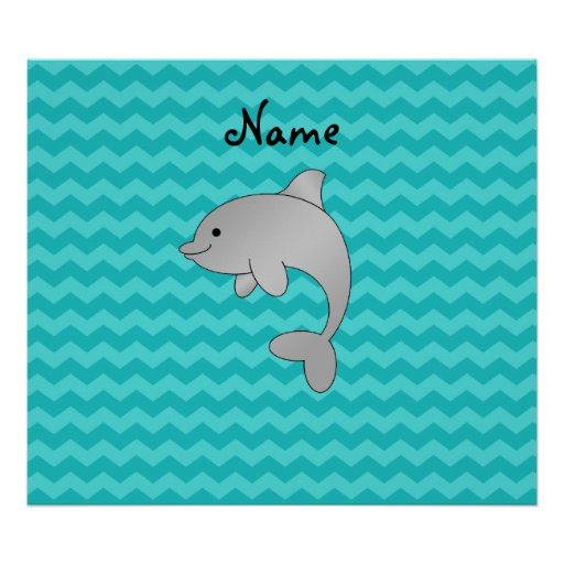 Personalized name dolphin turquoise chevrons poster
