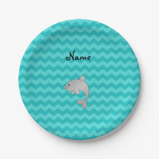 Personalized name dolphin turquoise chevrons 7 inch paper plate